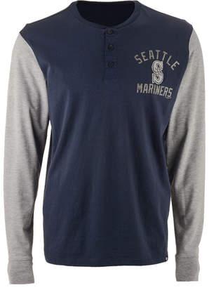 '47 Men's Seattle Mariners Downfield Henley Long Sleeve T-Shirt