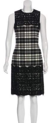 Michael Kors Lace-Paneled Plaid Dress