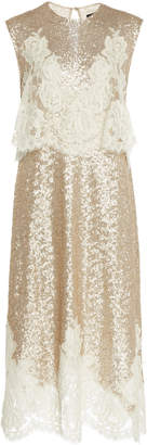 Costarellos Lace-Embellished Sequined Midi Dress
