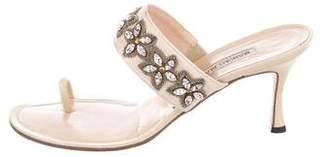 Manolo Blahnik Embellished Slide Sandals