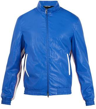Valentino High Neck Faux Leather Bomber Jacket - Mens - Blue