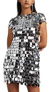 Paco Rabanne Women's Paillette-Embellished Chain-Mail Minidress - Silver