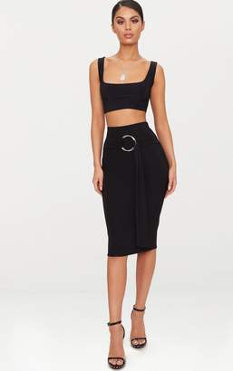 PrettyLittleThing Black Slinky O Ring Belt Midi Skirt
