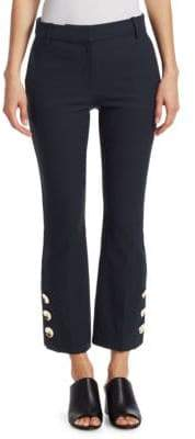 Derek Lam 10 Crosby Cropped Flare Pants with Button Hem