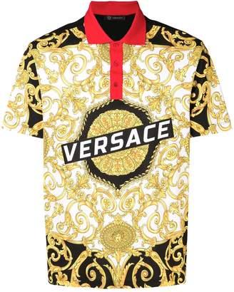 Versace baroque printed polo shirt