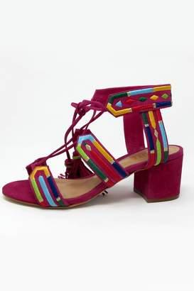 Schutz Pink Embroidered Heel