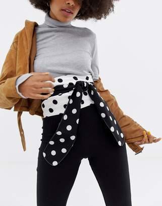 Asos Design Polka Dot Fabric Obi Belt
