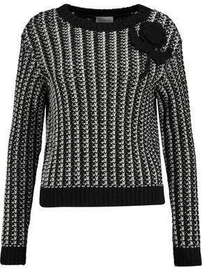 RED Valentino Appliquéd Ribbed-Knit Sweater