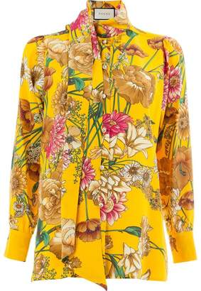 Gucci floral mock neck blouse