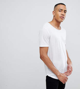 Asos DESIGN Tall relaxed longline t-shirt with raw scoop neck and curve hem in linen mix in white