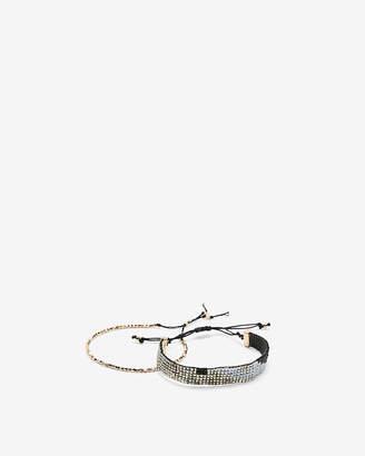 Express Set Of Two Rhinestone Pull-Cord Bracelets