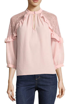 Hollywould 3/4 Sleeve Keyhole Neck Woven Lace Blouse-Juniors