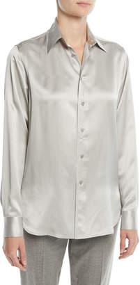 Ralph Lauren Bacall Button-Front Long-Sleeve Silk Blouse