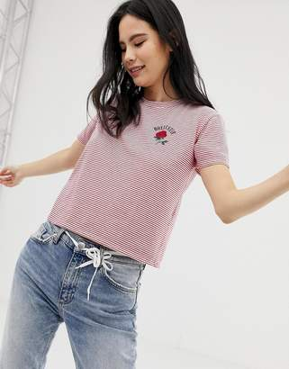 Hollister stripe tshirt with rose logo