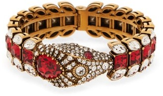 Gucci Crystal Embellished Snake Cuff - Womens - Red