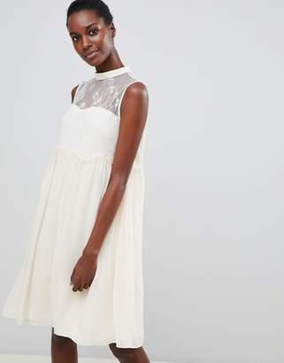 Vila Lace Panelled Swing Dress