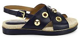 Michael Kors Women's Hallie Studded Leather Crisscross Flatform Sandals