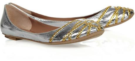 Sigerson Morrison Braid-embellished metallic leather flats