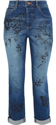 Alice + Olivia Ao.la By Cropped Printed High-Rise Slim-Leg Jeans
