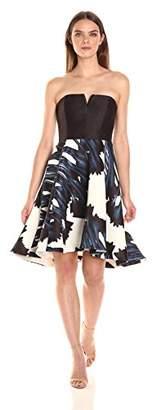 Halston Women's Strapless Notch Neck Printed Dress