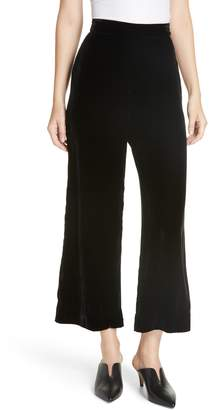 Rebecca Taylor Wide Leg Crop Velvet Pants