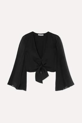 Alice + Olivia Alice Olivia - Prija Tie-front Silk Crepe De Chine Blouse - Black