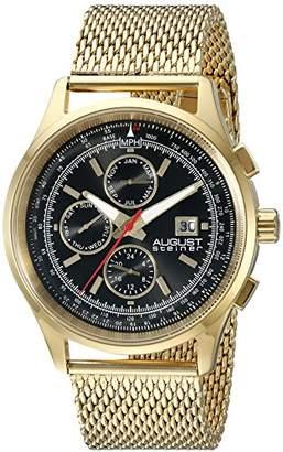 August Steiner Men's AS8194YGB Round Black Radiant Sunburst Dial Two Time Zone Quartz Gold Tone Bracelet Watch