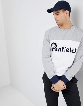 Penfield Orso Crew Neck Sweatshirt Front Logo Cut & Sew in Gray/White