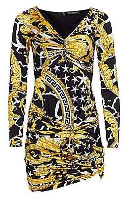 Versace Women's Jersey Savage Baroque Ruched Mini Dress