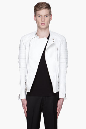 3.1 Phillip Lim White leather Padded and belted biker Jacket