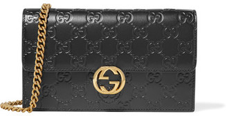 Gucci - Icon Embossed Leather Shoulder Bag - Black $895 thestylecure.com