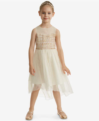 Rare Editions Toddler Girls Boucle Illusion Neck Dress