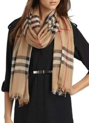 Burberry Women's Giant Check Gauze Scarf - Camel