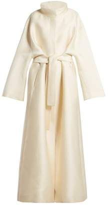 The Row Sarlie High Neck Silk Coat - Womens - Beige