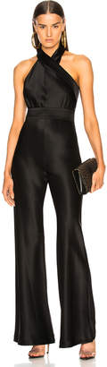 Galvan Asymmetric Sash Jumpsuit in Black   FWRD