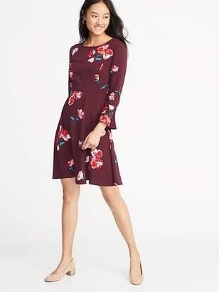 Old Navy Fit & Flare Flute-Sleeve Crepe Dress for Women