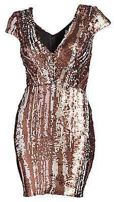 Dress the Population Women's Zoe Cap Sleeve Sequin Mini Dress