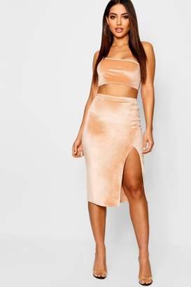 boohoo Velvet Split Side Midi Skirt