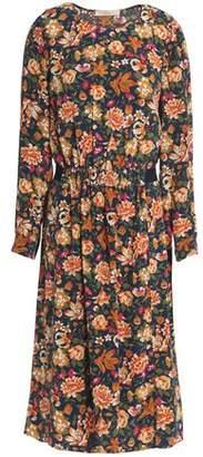 Vanessa Bruno Gathered Floral-Print Silk Dress