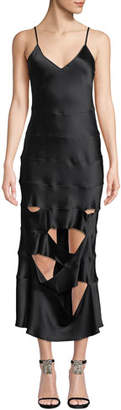 SABLYN Kyle Slashed V-Neck Silk Slip Dress