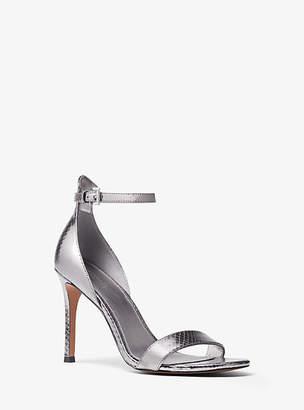 2b7763e1f1c Michael Kors Harper Metallic Snake-Embossed Leather Sandal