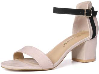 ce6c89de2b3d02 Allegra K Women s Open Toe Mid Block Heel Ankle Strap Sandals (Size US 7)