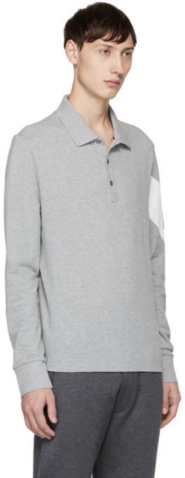 Moncler Gamme Bleu Grey Long Sleeve Chevron Polo