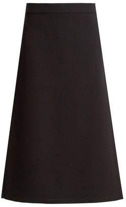 Raey Split-side wool-blend twill A-line midi skirt
