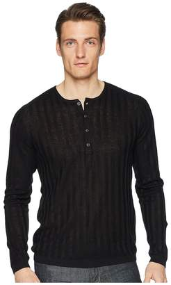 John Varvatos Collection Long Sleeve Rib Henley Y2380U1 Men's Long Sleeve Pullover