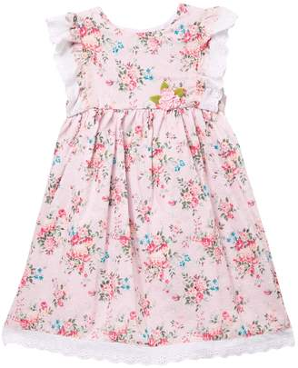 Pippa Pastourelle By And Julie Flutter Sleeve With Eyelet Trim Floral Dress (Toddler & Little Girls)
