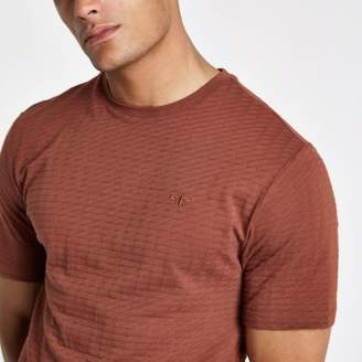 River Island Brown waffle slim fit short sleeve T-shirt