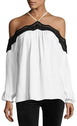 Ramy Brook Sandy Cold-Shoulder Long-Sleeve Top with Lace Trim, Ivory/Black $325 thestylecure.com