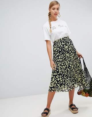 Monki Printed Midi Skirt