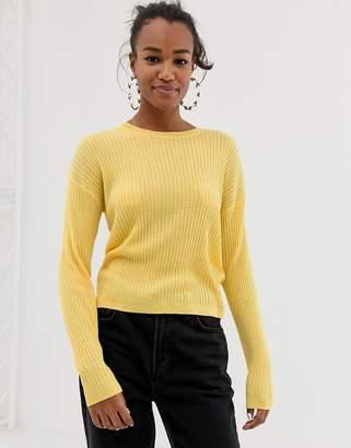 Bershka crew knit jumper in yellow